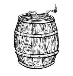 Powder keg engraving vector