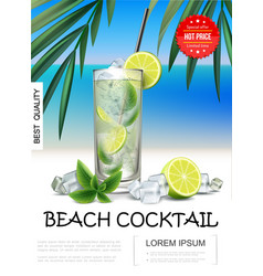 realistic tropical beach cocktail poster vector image