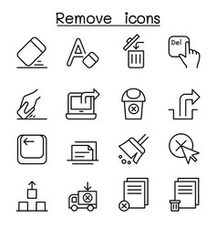 Remove erase delete icon set in thin line style vector