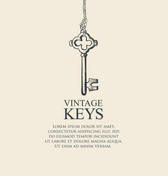 retro banner with vintage key and place for text vector image