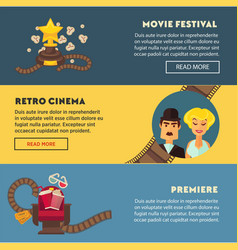 Retro cinema movie premiere festival flat vector