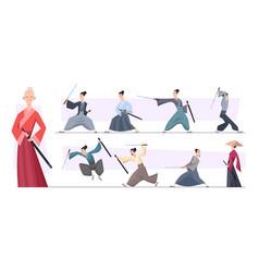 samurai warriors aggressive asian vector image