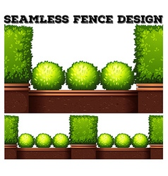 Seamless fence design with green bush vector image