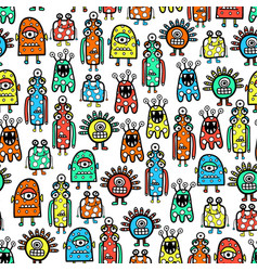 seamless pattern cute monsters and aliens funny vector image