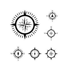 Set compass icon template various compass logo vector