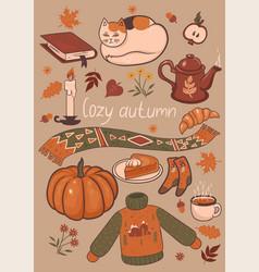 set cozy autumn graphic elements graphics vector image