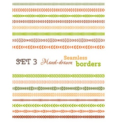 Set of colourful seamless borders vector