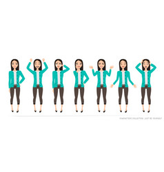 Set of emotions and gestures to the young asian vector