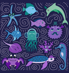 set of hand-drawn color amusing marine animals vector image