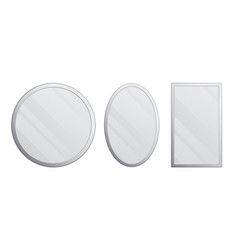 set realistic mirrors metal round and vector image