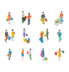 Shopping people 3d icons set isometric view vector