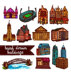 Sketch city building set color vector