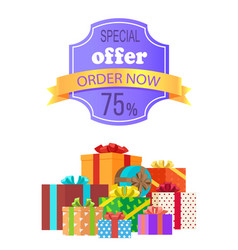 special offer order now 75 off emblem with ribbon vector image
