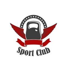 sport club sign kettlebell with wings vector image