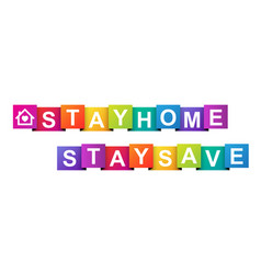 Stay home stay save paper banner vector