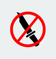 stop knife weapon icon vector image