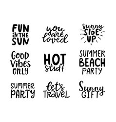 Summer hand lettering collection on white vector