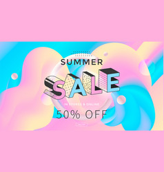 summer sale banner design in pastel color vector image