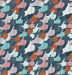 Thumbs up Drawn by hands seamless pattern Flat vector image