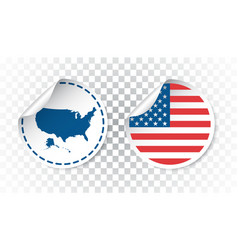 usa sticker with flag and map america label round vector image