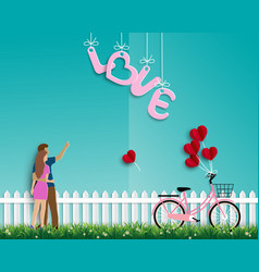 valentines day with couple standing on garden vector image