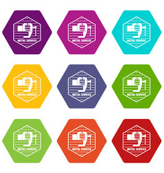Vise icons set 9 vector