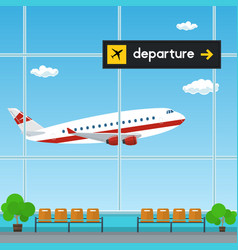 Waiting room at the airport scoreboard departures vector