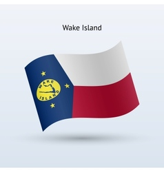 Wake Island flag waving form vector