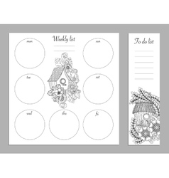 Weekly list design for notepad Sketchbook diary vector
