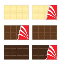 white milk dark chocolate bar icon set opened red vector image
