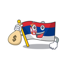 With money bag flag serbia isolated with the vector