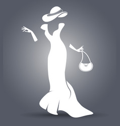 black and white silhouette of a lady vector image