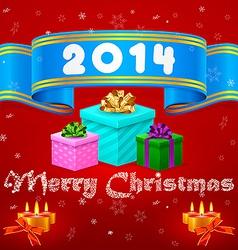 Blue ribbon 2014 Christmas gifts vector image