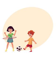 boy and girl playing football and spinning hula vector image vector image