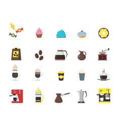 Cartoon coffee shop color icons set vector