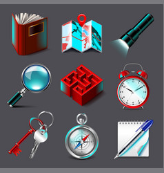 quest icons set vector image vector image