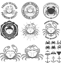 Set of crabs labels Fresh seafood vector image vector image