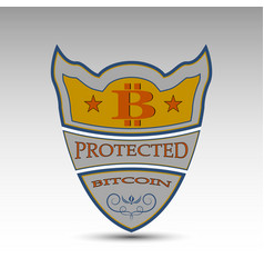 shield with bitcoin symbol vector image vector image