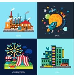 Various cityscapes colored houses amusement park vector image