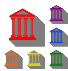 historical building set of red vector image