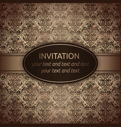 invitation card in brown with gold ribbon vector image vector image