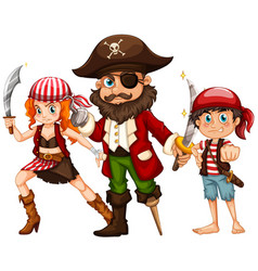 pirate and two crews with weapons vector image
