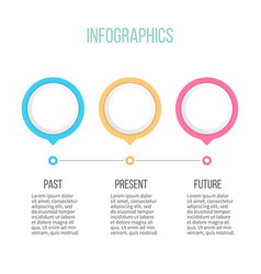 business infographics timeline with 3 pointers vector image