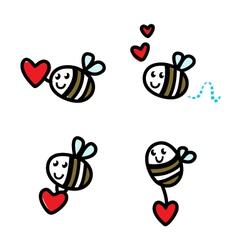cute flying bee doodle vector image vector image