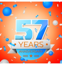 Fifty seven years anniversary celebration on vector