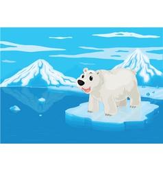 polar bear and snowy mountain vector image vector image