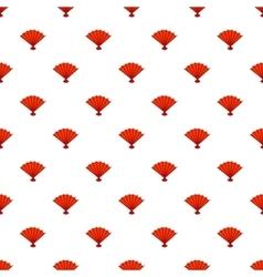 Red open hand fan pattern cartoon style vector