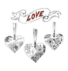 Sketch hearts with floral motif vector image