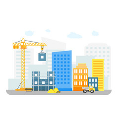 cartoon constructions building on background of vector image