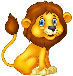 Cartoon lion sitting vector image vector image